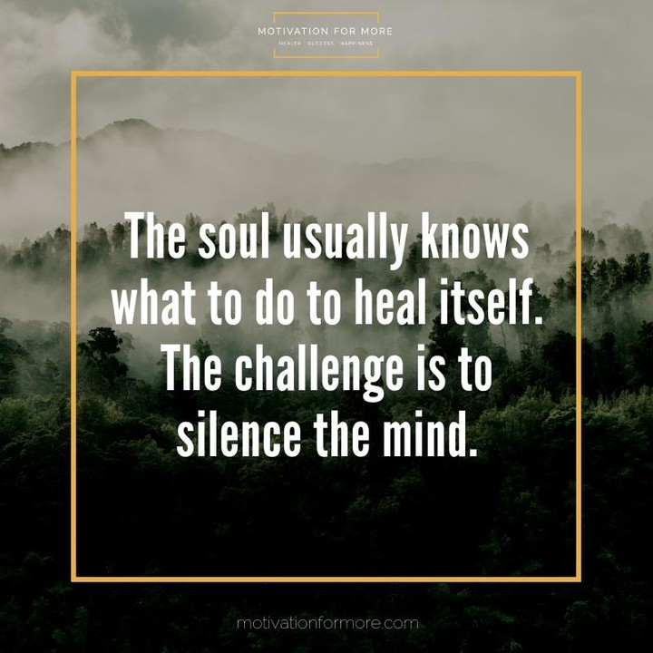 the soul usually knows what to do to heal itself the challenge is to silence the mind